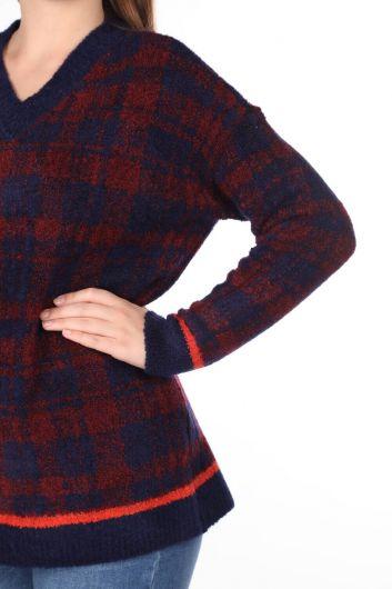 كنزة تريكو منقوشة باللون الأزرق الداكن للسيدات - Thumbnail