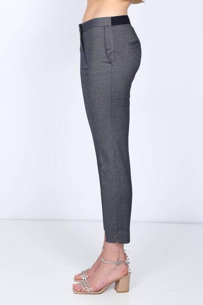 MARKAPIA WOMAN - Женские брюки из ткани темно-синего цвета с эластичным рисунком на талии (1)