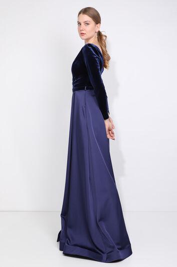 MARKAPIA WOMAN - فستان سهرة نسائي ذو فتحة رقبة مزدوجة الصدر باللون الأزرق الداكن (1)