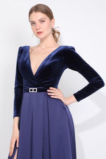 فستان سهرة نسائي ذو فتحة رقبة مزدوجة الصدر باللون الأزرق الداكن - Thumbnail