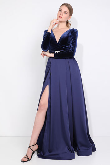 Women's Navy Blue Double Breasted Neck Slit Evening Dress - Thumbnail