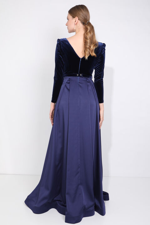 Women's Navy Blue Double Breasted Neck Slit Evening Dress
