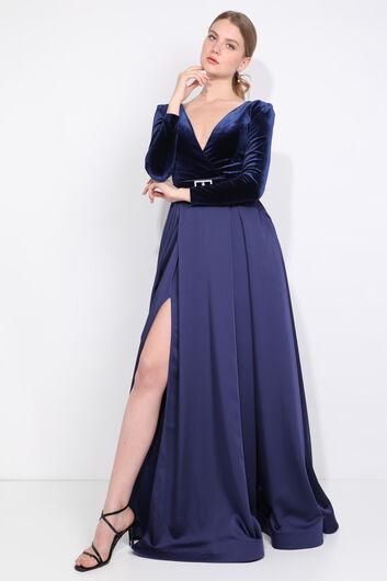 Женское темно-синее двубортное вечернее платье с вырезом и разрезом - Thumbnail