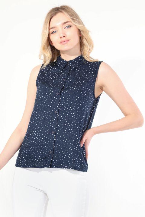 قميص بدون أكمام منقط كحلي نسائي