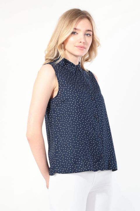 Women's Navy Polka Dot Sleeveless Shirt