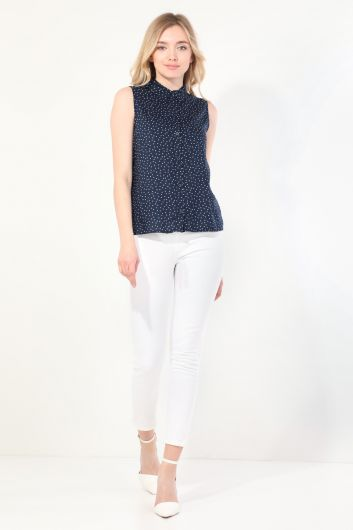 Women's Navy Polka Dot Sleeveless Shirt - Thumbnail