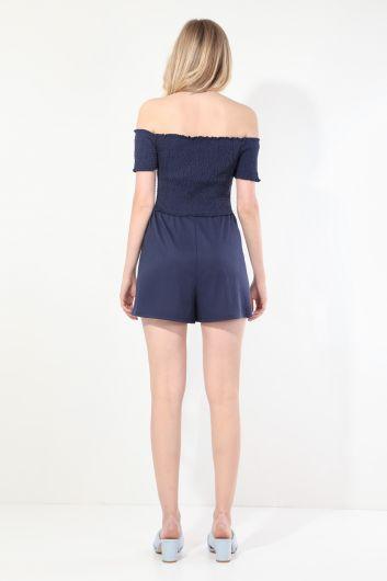Women's Navy Blue Strapless Jumpsuit Shorts - Thumbnail