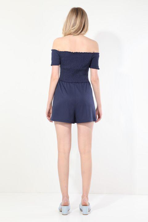 Women's Navy Blue Strapless Jumpsuit Shorts