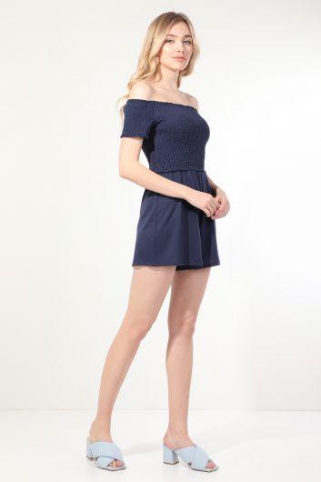 MARKAPIA WOMAN - Женский темно-синий комбинезон с шортами без бретелек (1)