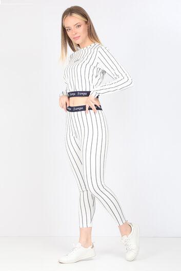 FAMPA - Women's Navy Striped Long Sleeve Leggings Set (1)