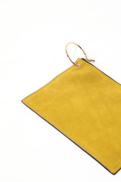 حقيبة محفظة جلد سويدي بحلقة خضراء زيتية للسيدات
