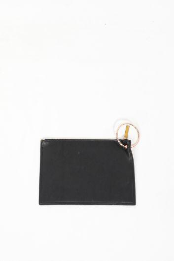حقيبة محفظة جلد سويدي بحلقة خضراء زيتية للسيدات - Thumbnail