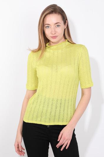 بلوزة تريكو رفيعة باللون الأخضر الزيتي للمرأة - Thumbnail