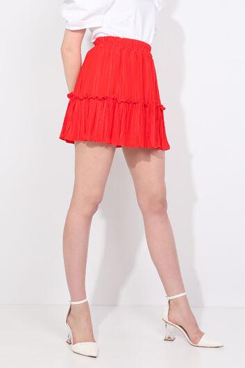 Women's Orange Pleated Mini Skirt - Thumbnail