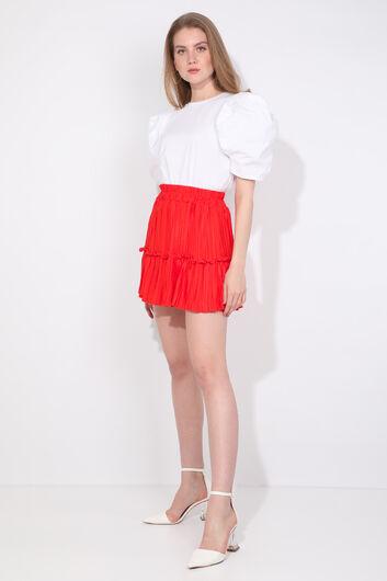 MARKAPIA WOMAN - Женская мини-юбка оранжевого цвета со складками (1)