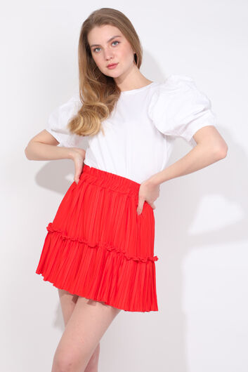 Женская мини-юбка оранжевого цвета со складками - Thumbnail