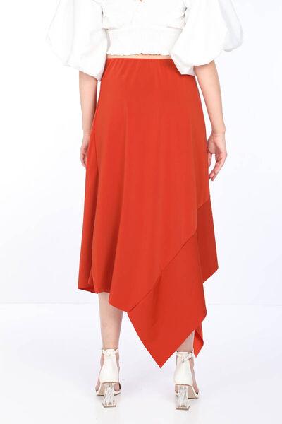 MARKAPIA WOMAN - تنورة غير متماثلة مزينة بكشكشة برتقالية للنساء (1)
