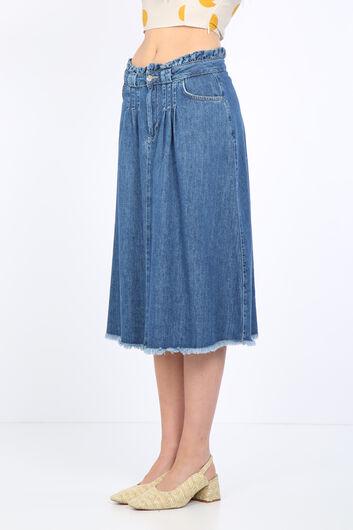 BLUE WHITE - Women's Paperbag Jean Skirt Dark Blue (1)