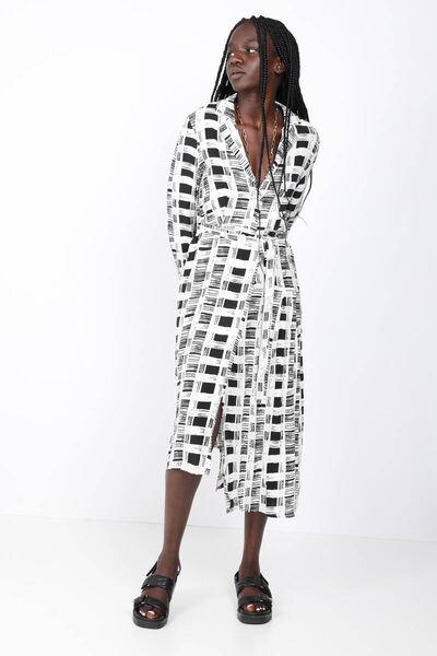 BLUE WHITE - Women's Patterned Asymmetrical Cut Dress (1)