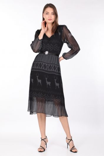 MARKAPIA WOMAN - فستان شيفون نسائي منقوش بطيات أسود (1)