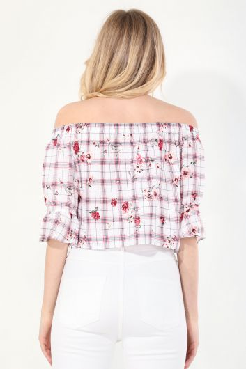 Women's Patterned Strapless Blouse - Thumbnail