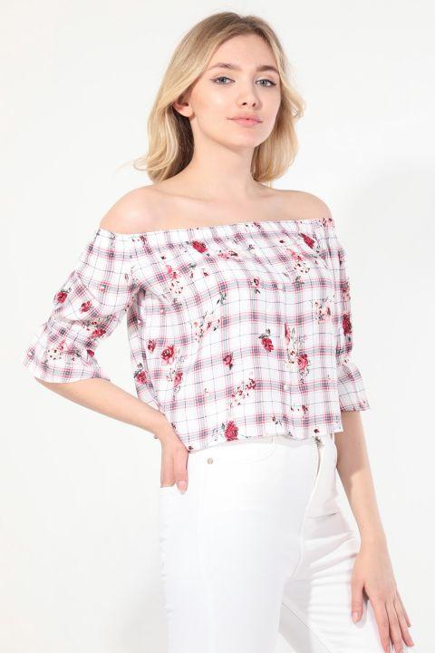 Женская блузка без бретелек с рисунком