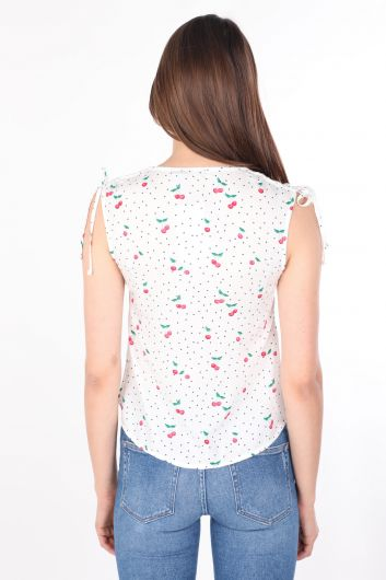 Women's White Patterned V Neck Sleeveless Shirt - Thumbnail