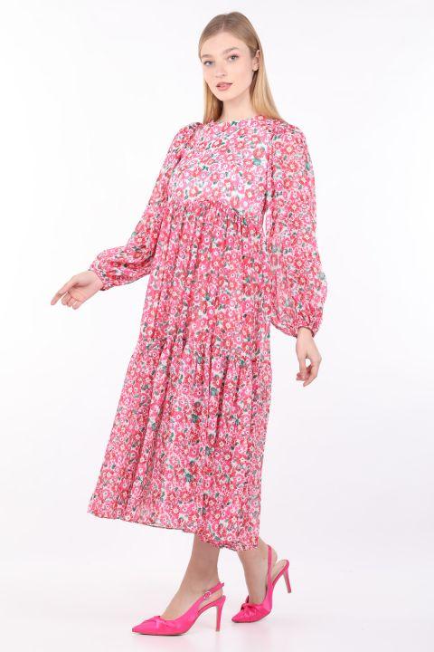 فستان شيفون طويل زهري زهري نسائي
