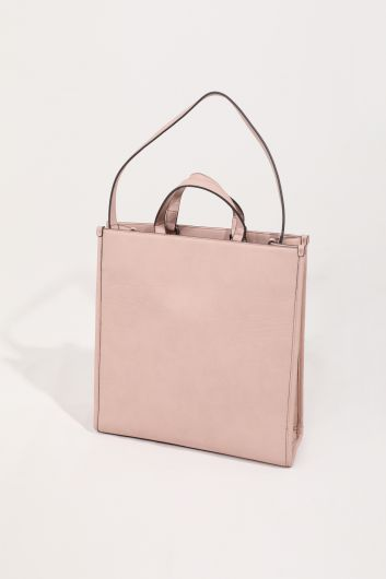 Women's Pink Flower Appliqued Leather Look Hand and Shoulder Bag - Thumbnail
