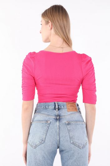 Women's Pink Half Sleeve Bodysuit - Thumbnail