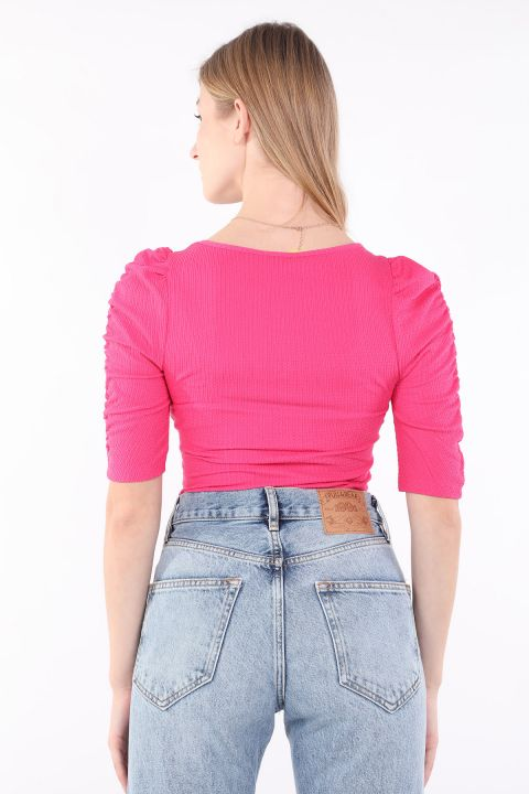 Women's Pink Half Sleeve Bodysuit