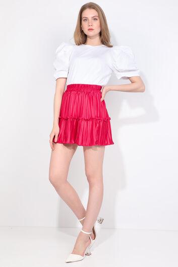 MARKAPIA WOMAN - تنورة نسائية صغيرة ذات ثنيات وردية اللون (1)