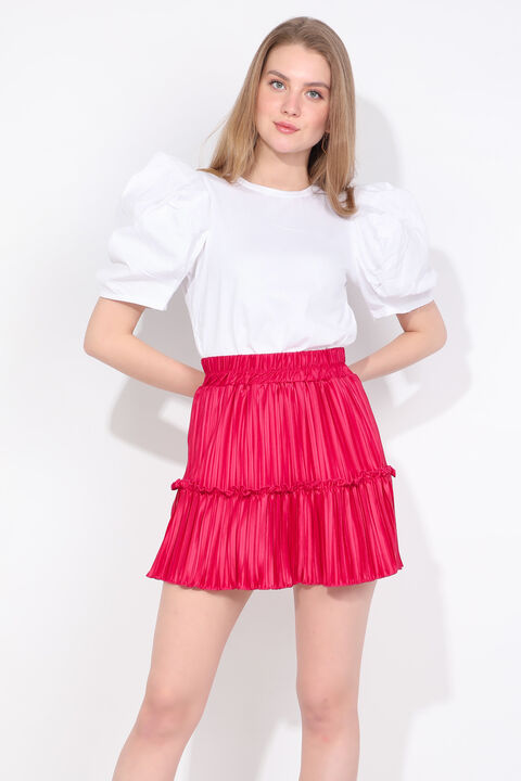 Women's Pink Pleated Mini Skirt