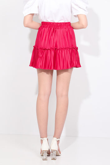 Women's Pink Pleated Mini Skirt - Thumbnail