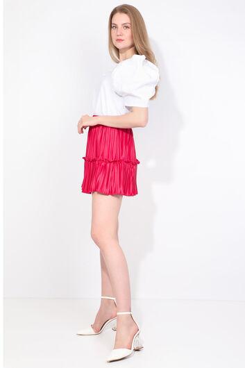 Женская розовая мини-юбка со складками - Thumbnail