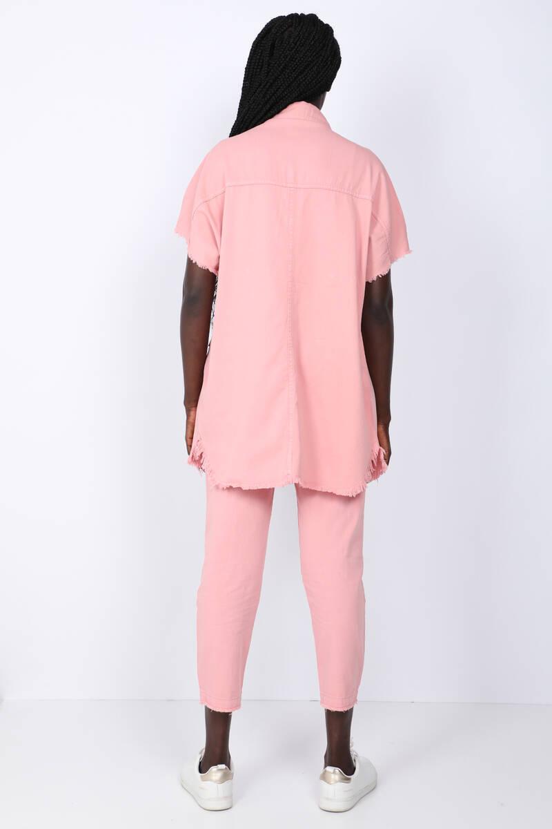Women's Pink Pocket Basic Jacket