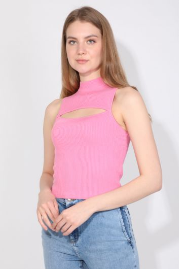 MARKAPIA WOMAN - Women's Pink Ribbed Half Turtleneck Sleeveless Knitwear Blouse (1)