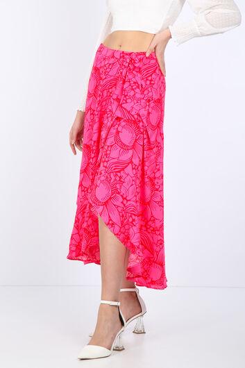 تنورة ملفوفة بكشكشة وردية للنساء - Thumbnail