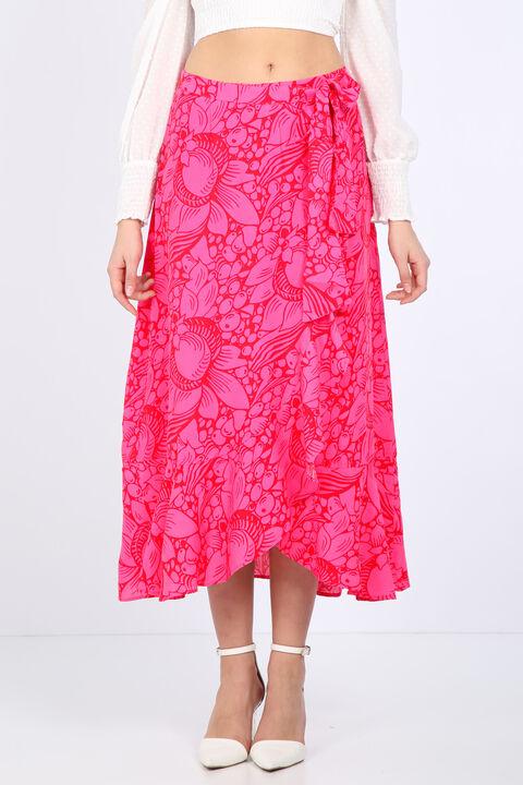 تنورة ملفوفة بكشكشة وردية للنساء