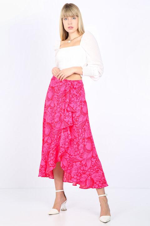 Женская розовая юбка с запахом и оборками