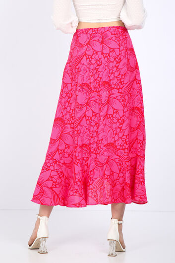 Женская розовая юбка с запахом и оборками - Thumbnail