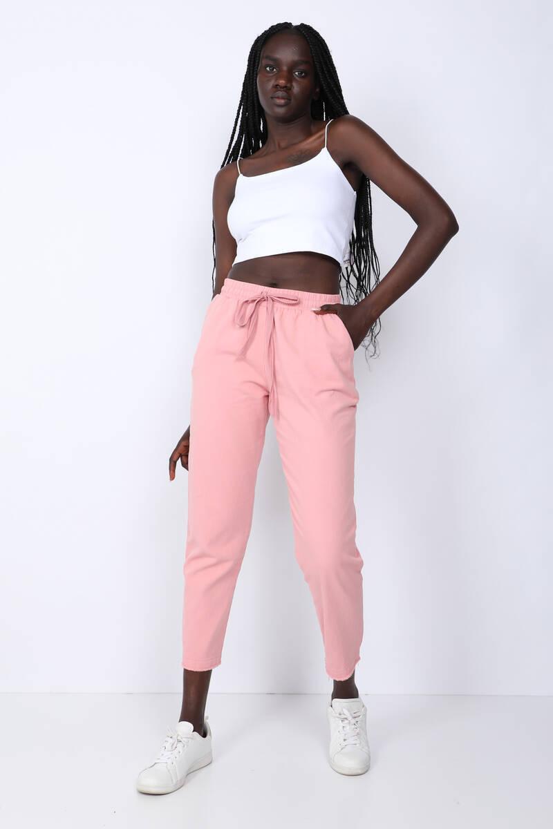 Women's Pink Waist Drawstring Trousers