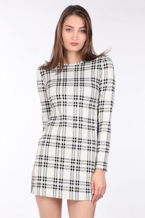 فستان نسائي قصير مستقيم منقوش بأكمام طويلة