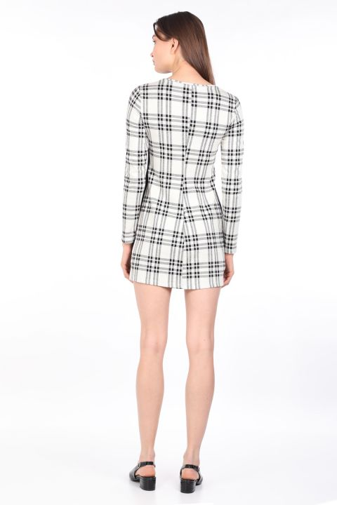Women Plaid Long Sleeve Straight Mini Dress