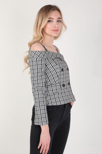 Women Plaid Strap Detailed Shirt - Thumbnail