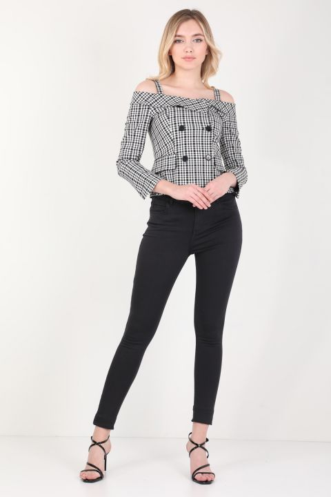 Women Plaid Strap Detailed Shirt