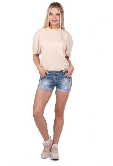Women's Pocket Detailed Jean Short - Thumbnail