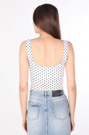 Women's Polka Dot Strappy Blouse White - Thumbnail