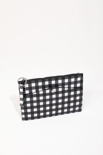 Женская ручная сумка в мелкую клетку с рисунком - Thumbnail