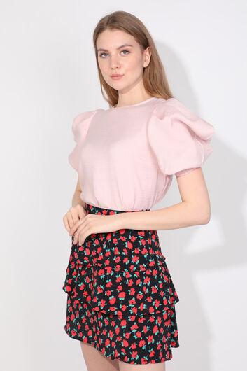 Women's Powder Balloon Sleeve Blouse - Thumbnail